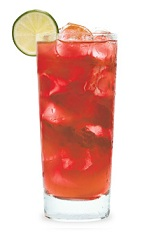 The Lemon-Tasia is a red drink made from cranberry schnapps and lemonade, and served over ice in a highball glass.