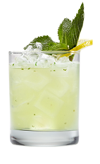 The Lemon Mojito is a yellow colored drink made from Smirnoff lemon vodka, lemon juice, mint leaves and club soda, and served over ice in a rocks glass.