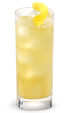 The Lemonade 485 is a sweet and tart yellow drink made from New Amsterdam gin, lemon, apple brandy and peach brandy, and served over ice in a highball glass.