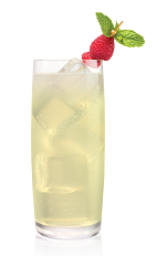 The Lemonade Raz drink is made from Stoli Razberi raspberry vodka and fresh lemonade, and served over ice in a highball glass.
