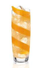 The L'Escalier is an orange drink made from Noilly Prat, cognac, orange and ginger ale, and served over ice in a highball glass.