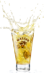 The Lick of Sunshine drink is made from Malibu coconut rum, pineppale juice and passion fruit, and served over ice in a highball glass.
