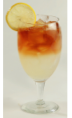 The Light Half and Half is a skinny cocktail made from Effen black cherry vodka, Crystal Light lemonade, iced tea and Splenda sugar substitute, and served over ice in a stemmed glass.