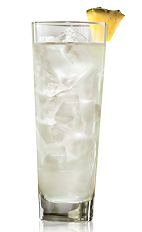 The Light Pina Colada is a clear drink made from Bacardi rum, pina colada mix and club soda, and served over ice in a highball glass.