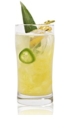 The Liquid Sunray is made from tequila, pineapple, lime juice, jalapeno, agave nectar and club soda, and served over ice in a highball glass.