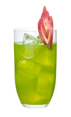 The Love Junk drink is made from a smooth blend of Midori melon liqueur, peach schnapps and apple juice, and served in a highball glass full of ice.