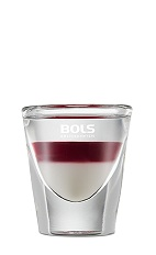 The Ma Cherie is a layered clear and red shot made from Kirschwasser cherry liqueur, cherry brandy and Bols Natural Yoghurt liqueur, and served in a chilled shot glass.