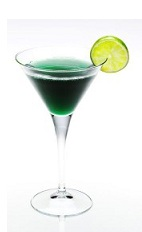 The Macbeth is a dark and dreary green cocktail made from Disaronno, whiskey, blue curacao and sweet & sour mix, and served in a chilled cocktail glass.