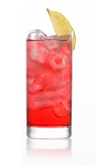 The Mackintosh Rose drink is a red colored drink made from Caorunn gin, tonic water, Chambord raspberry liqueur, cranberry juice and lemon bitters, and served over ice in a highball glass.