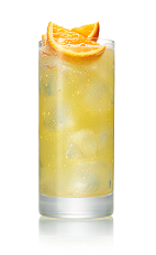 The Main Squeeze drink is made from Stoli Ohranj orange vodka, orange juice and club soda, and served in a highball glass.