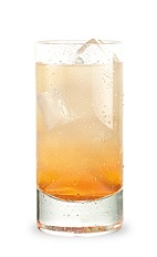 The Mandarin Sunset is an orange drink made from Pucker watermelon schnapps, mandarin orange vodka, orange juice and club soda, and served over ice in a highball glass.