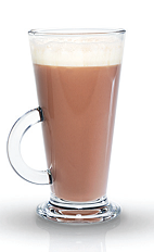 The Mango Chocolate is a fruity variation of a spiked hot chocolate perfect to warm you on a cold winter's eve. A brown colored drink made from Finlandia mango vodka, hot chocolate and whipped cream, and served in a coffee or hot toddy glass.