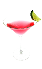 The Mango Cosmo is a pink cocktail made from Smirnoff mango vodka, triple sec, cranberry juice and lime juice, and served in a chilled cocktail glass.