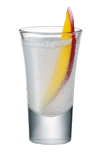 The Mango Cream is a clear colored shot made from Smirnoff whipped cream vodka, Smirnoff mango vodka, sour mix and mango, and served in a chilled shot glass.