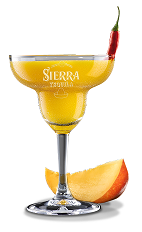 The Mango Margarita is a sweet and fruity drink perfect for summer at the pool. A yellow cocktail made from Sierra tequila, mango puree, lime juice, agave nectar and a chili pepper, and served in a chilled margarita glass.