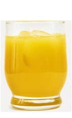 The Mango Passion cocktail recipe is an orange colored drink made from Burnett's mango vodka and pineapple juice, and served over ice in a rocks glass.