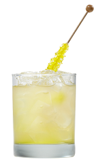 The Mango Passion Tea is an orange colored drink made from Smirnoff mango passion fruit vodka, lime juice, iced tea and coconut water, and served over ice in a double old-fashioned glass.