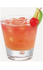 The Mango Sunset is a peach colored drink recipe made from Burnett's mango vodka, orange juice and cranberry juice, and served over ice in a rocks glass.