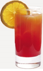 The Mango Tango Lemonade is an orange colored drink recipe made from Burnett's mango vodka, lemonade and cranberry juice, and served over ice in a highball glass.