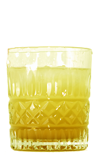 The Marco Polo is an orange colored drink made from Orangecello, Arrack, passion fruit syrup, lime juice and club soda, and served over ice in a rocks glass.