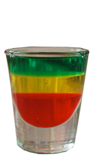 The Marley Juice is a 420 shot is made form pomegranate juice, lemonade and Stoked hemp vodka, and served in a shot glass.