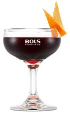 The Martinez is a classy red cocktail made from Bols maraschino liqueur, sweet vermouth and bitters, and served in a chilled cocktail glass.