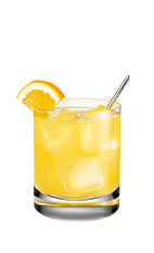 The Mash-Mellow is a yellow colored drink made from Smirnoff marshmallow vodka, lemonade, lemon juice and club soda, and served over ice in a rocks glass.