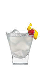 The Mellow Berry is a clear colored drink made from Smirnoff marshmallow vodka, Smirnoff raspberry vodka, sour mix and club soda, and served over ice in a rocks glass.