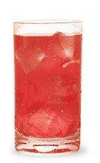 The Melon Citrus Cooler is a red drink made from Pucker watermelon schnapps, vodka, orange juice and cranberry juice, and served over ice in a highball glass.