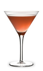 The Melon Creek Martini is made from Watermelon Pucker, Knob Creek bourbon and cranberry juice, and served in a chilled cocktail glass.