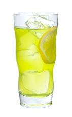 The Midori Lemonade drink is made from Midori melon liqueur and lemonade, and served over ice in a highball glass.