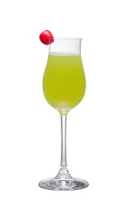 The Midori Slipper is a variation of the classic Japanese Slipper cocktail recipe. Made from Midori melon liqueur, tequila, triple sec and orange juice, and served in a chilled cocktail glass.