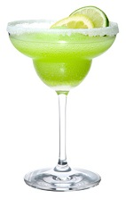 The Midorita cocktail is a modern variation on the classic Margarita cocktail. Made from Midori melon liqueur, silver tequila and sweet and sour mix, and served in a chilled margarita glass.