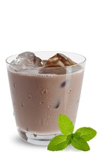 The Mint Chocolate Milk is a brown drink made from chocolate mint liqueur, mint and milk, and served over ice in a rocks glass.