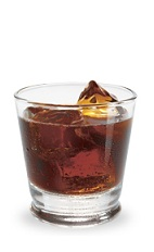The Mint Mocha is a brown drink made from creme de cacao, creme de menthe and coffee liqueur, and served over ice in a rocks glass.