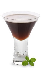 The Mint Mocha Martini is a brown cocktail made from chocolate mint liqueur, Kahlua coffee liqueur and vodka, and served in a chilled cocktail glass.
