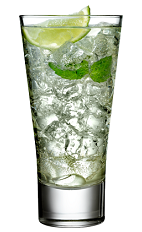 The Mismo is a clear cocktail made from Rose's lime cordial, rum, mineral water, mint and lime, and served over ice in a highball glass.