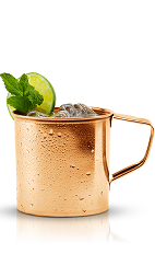 This variation of the classic Moscow Mule drink is made from New Amsterdam vodka, ginger beer, simple syrup, lime juice, mint and lime, and served over ice in a rocks glass.