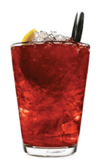 The Musta Marja drink recipe is made from Chymos blackberry liqueur and tonic water, and served over crushed ice in a highball glass garnished with a lemon wedge.