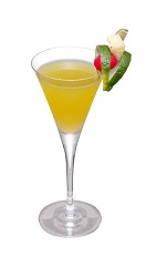 The Natural Stock cocktail is made from Yamazaki 10-year old whiskey, Midori melon liqueur, lemon juice, pineapple juice and banana liqueur, and served in a chilled cocktail glass.