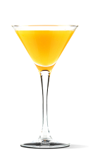 The Navaltini cocktail recipe is an orange colored drink made from UV Orange vodka, orange juice and chilled champagne, and served in a chilled cocktail glass.