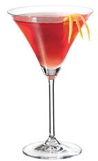 The Negroni PAMA is a sweeter variation of the classic bitter Negroni drink recipe. A red colored cocktail made from PAMA pomegranate liqueur, gin and sweet vermouth, and served in a chilled cocktail glass.