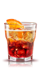 The Negroni Sbagliato is an orange drink made from Campari, sweet vermouth and white wine, and served over ice in a rocks glass with an orange slice.