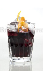 The Negroni Vermiglio is a refreshing variation of the classic Negroni drink. A dark red digestif drink made from sloe gin, Elixier digestif, Campari and club soda, and served over ice in a rocks glass.