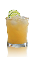 The Nelson's Touch drink recipe is a relaxing orange colored tropical cocktail made from Admiral Nelson's spiced rum, peach brandy, lime juice and pineapple juice, and served over ice in a rocks glass.