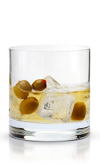 The New Dirty Martini is a modern variation of the classic Dirty Martini cocktail. Made from New Amsterdam vodka, dry vermouth, olive brine and olives, and served over ice in a rocks glass.