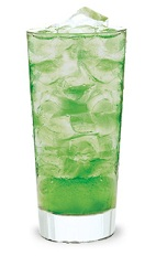 The Newton's Cocktail is a green colored drink made from melon liqueur, Pucker sour apple schnapps and sour mix, and served over ice in a highball glass.