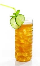 The Nights Side is an pleasant tasting orange colored drink made from gin, Joseph Cartron green tea liqueur, Pimm's, lemon juice, gum syrup, cucumber, mint and mineral water, and served over ice in a highball glass.