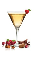The Nuts and Berries Martini is a granola bar in a glass. An orange cocktail made from Frangelico hazelnut liqueur and SKYY raspberry vodka, and served in a chilled cocktail glass.