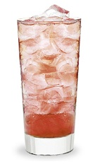 The Nuts and Cherries is an orange drink made from amaretto, cherry schnapps and club soda, and served over ice in a highball glass.